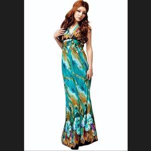 Boho halter v-neck maxi dress